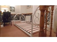 Cream wrought iron single bed frame