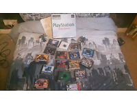 PS 1, 2 Controllers, Memory Card and 17 Games