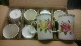 8 floral vintage style china cups
