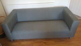 Argos Moda grey 3 seater settee and armchair.