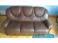 Beautiful Brown Leather 3 seater Sofa - Settee seats 3 people comfortably