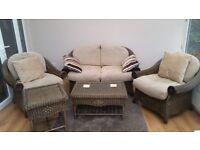 5 pc Rattan Conversatory Furniture Set - Sofa, 2x Chairs, Coffee Table & Side Table