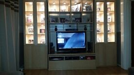 TV cabinet and 2 lit display cabinets
