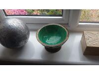Ornament Bowl Wooden Turqupise Teal Duck Egg Duckegg