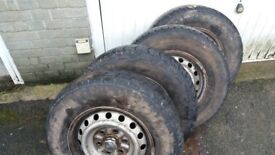 4 tyres with steel wheels