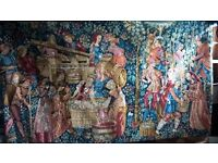 LARGE WALLHANGING TAPESTRY FRENCH WINE MAKING FABRIC DECORATION
