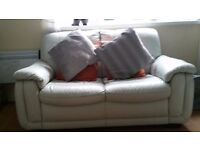 Stylish laura ashley real leather 2 seater sofa ( pale grey) looks off white