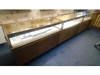 3 VINTAGE 1950S COUNTER SHOP DISPLAY CABINETS WITH STORAGE +3 LARGE WALL HANG SHOP DISPLAY CABINETS