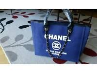 CHANEL BLUE CANVAS BAG.