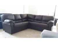 NEW Brown Leather Corner Sofa Suite FREE LOCAL DELIVERY