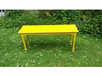 Vintage painted yellow bench