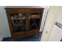 Antique Glass Fronted Cabinet Bookcase Walnut? plus table