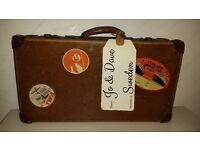 Vintage suitcase with letterbox for wedding cards