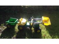 Ride on john deere tractor and trailer