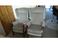 PAIR OF VINTAGE FIRESIDE/WINGBACK CHAIRS
