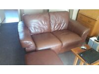 Two 2 seater couches and footstool