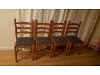4 pine kitchen/dining chairs