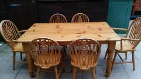 Farm House Pine Table + 6 Chairs £165 ono