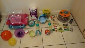 Dwarf hamster cage and accessories