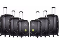 4 Wheel Spinner Hard Shell Trolley Suitcase Luggage Set Cabin Case Travel Set Of 3 ABS Holiday Black
