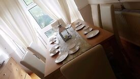 Dining Table + 6 Leather Chairs very nice condition