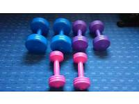 Free weights and exercise ball