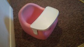 kiddicare pink karibu bumbo seat with tray
