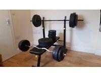 Everlast folding bench, 110kg weights, bar, curl bar and 2 x dumbbells