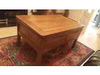 Solid oak 4 draw coffee table
