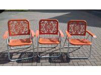x3 Vintage Orange Garden Folding Chairs