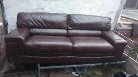 3 Piece Brown Leather Sofa
