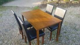 Solid Wood Dining Table and 4 Faux Leather Chairs