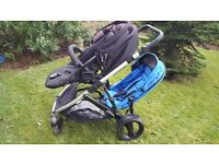 Double Buggy - Britax B Dual. Excellent Condition. Both seats lie flat suitable for newborns.