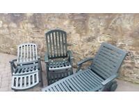 Sun Lounger and Two Recliner Chairs, great condition, been kept inside.