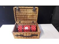 Gorgeous Wicker Picnic Basket with Henry Alexander Picnic Blanket - Great Condition