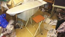 Vintage folding Ironing Board with seat attached