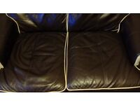 Genuine leather Art Deco style two seater settee