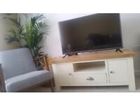 Sold. Cream and wood TV unit / stand - perfect condition almost new.
