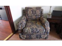 LARGE ARMCHAIR AND FOOTSTOOL