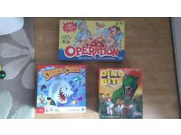 Bundle of Kids Board Games - Operation, Shark Chase and Dino Bite