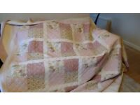 Pink patchwork quilt, 96ins x 106ins £10 Great condition