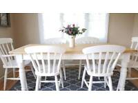 Stunning 6ft Farmhouse Pine Dining Table 6 Chairs