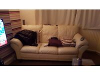 3 seater 2 seater cream leather sofa excellent condition. Quick sale needed moving house 1 week!