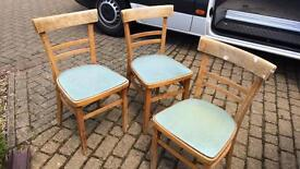3x vintage kichen chairs with blue vinyl seats for shabby