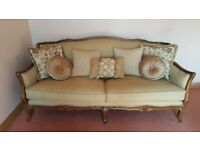 upholstered suite. 3 seater 2 seater 1 seat with foot stool. near new
