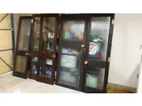 Doors x5 £50 internal stained wood with glass, handles hinges, height 196 width 2x61 2x58.5 1x80cm