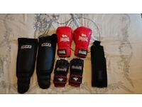 Hyabusa gloves, shin pads, boxing gloves, belt.