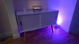 2 Door White Retro/Scandi Style Cabinet - (Danish style home storage, solid oak legs)