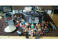 Wwe cage and 35 figures, 3 belts, walk on stage