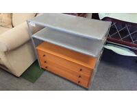 Industrial style metal frame unit with drawers shelving